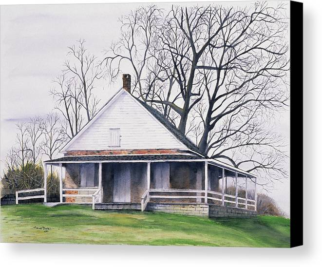 Quaker Canvas Print featuring the painting Quaker Meeting House by Tom Dorsz