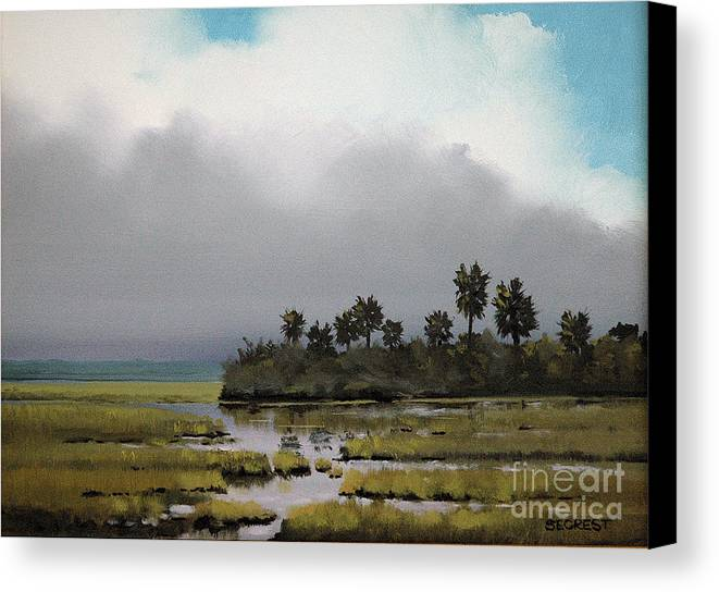Landscape Canvas Print featuring the painting Rain On The Way by Glenn Secrest