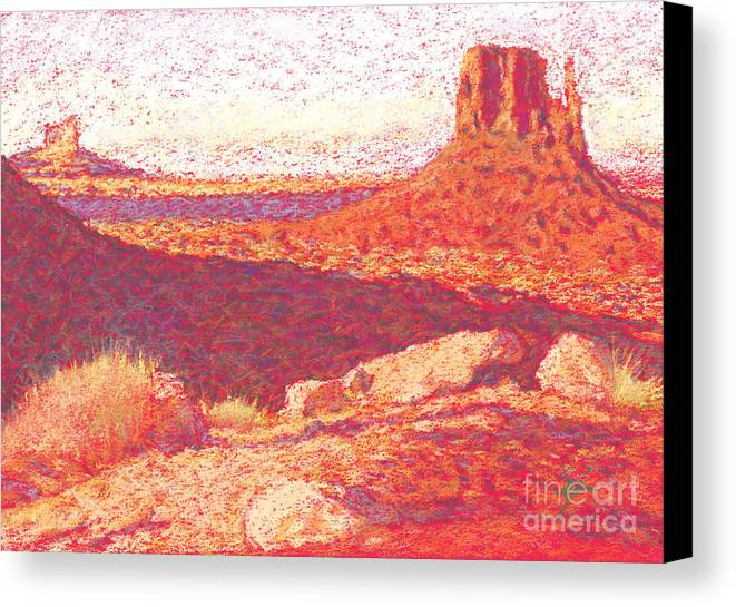 Buttes And Mesas Canvas Print featuring the drawing Red Desert by Suzie Majikol Maier