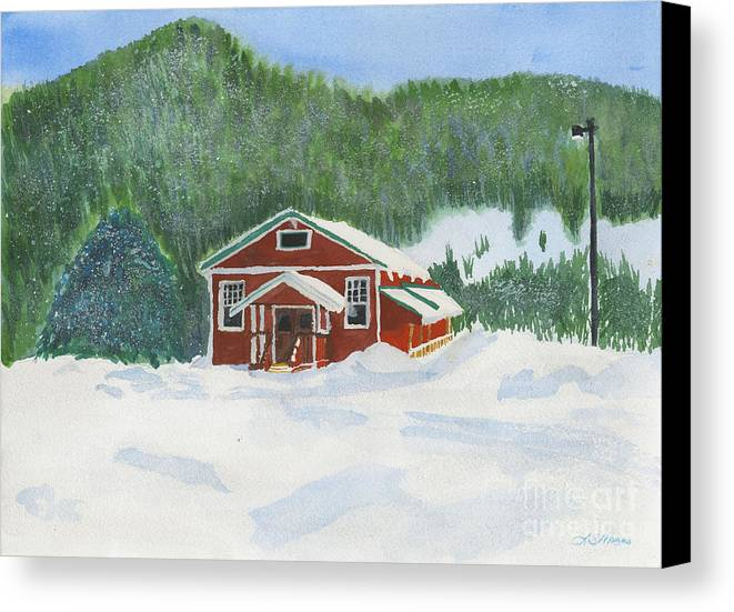 Schoolhouse Canvas Print featuring the painting Red School House by Louise Magno