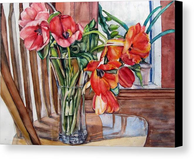 Watercolor Tulips Canvas Print featuring the painting Renite by June Conte Pryor