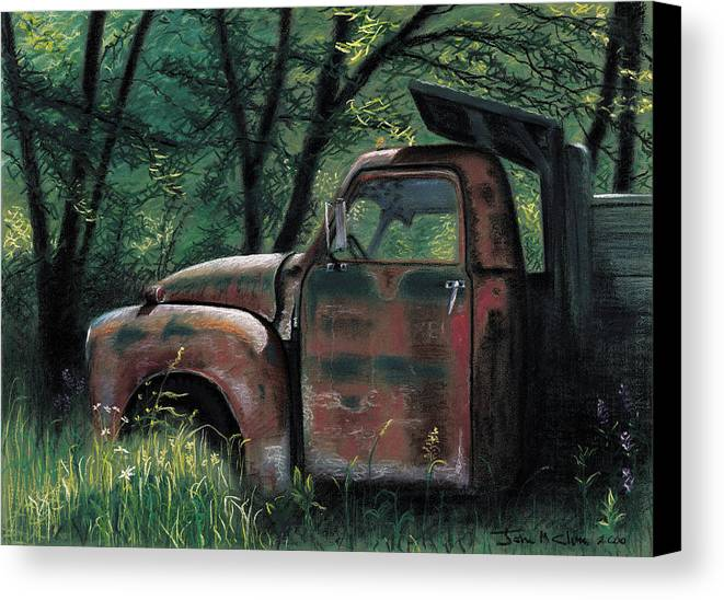 Retired Canvas Print featuring the pastel Retired by John Clum