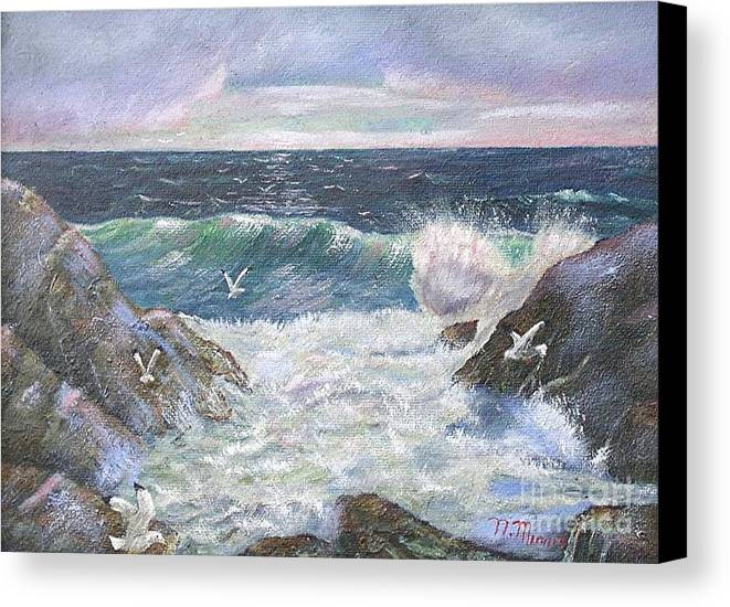 Original Oil Painting Seascape Rocky Shore.  Canvas Print featuring the painting Rocky Shore by Nicholas Minniti