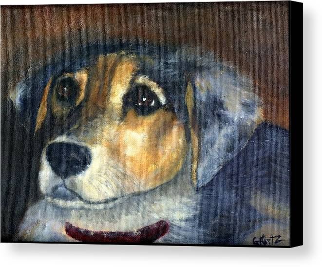 Dog Canvas Print featuring the painting Roxie by Gail Kirtz