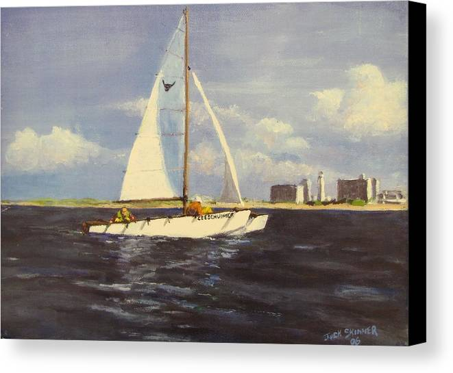 Sailboat Canvas Print featuring the painting Sailing In The Netherlands by Jack Skinner