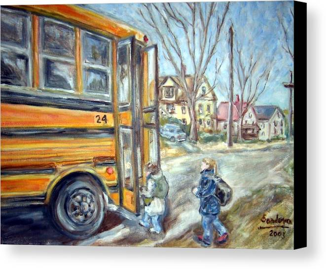 Landscape With Children Houses Street School Bus Canvas Print featuring the painting School Bus by Joseph Sandora Jr