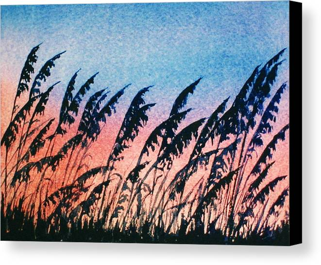 Sea Oats Canvas Print featuring the painting Sea Oats Silouette by Suzanne Krueger