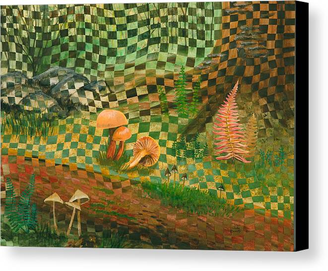 Mushrooms Canvas Print featuring the painting Shady Grove by Linda L Doucette