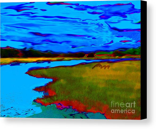 Landscape Canvas Print featuring the painting Shem Creek by Everett White