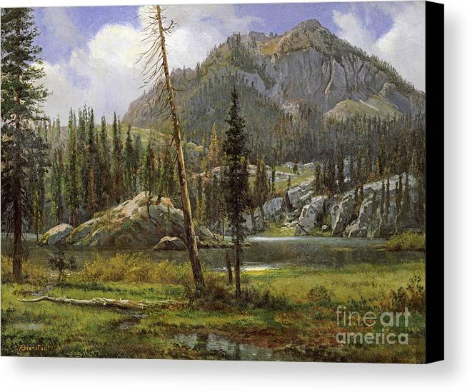 Albert Bierstadt Canvas Print featuring the painting Sierra Nevada Mountains by Celestial Images
