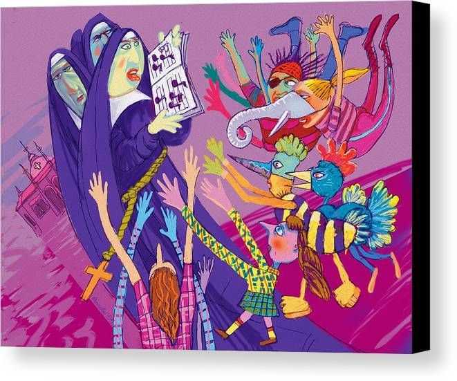 Sisters Canvas Print featuring the digital art Singing Nuns by Annabel Lee