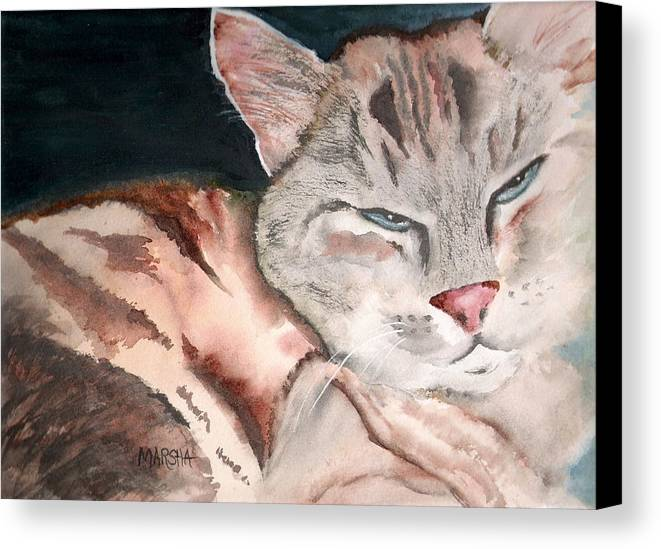 Animal Cat Painting Watercolor Canvas Print featuring the painting Sleepy Cat by Marsha Woods