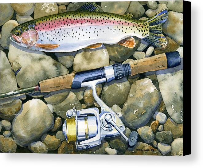 Fish Canvas Print featuring the painting Spin Trout by Mark Jennings