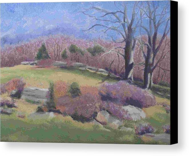 Landscape Canvas Print featuring the painting Spring At Ashlawn Farm by Paula Emery