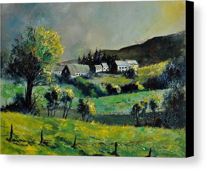 Landscape Canvas Print featuring the painting Spring In Voneche by Pol Ledent