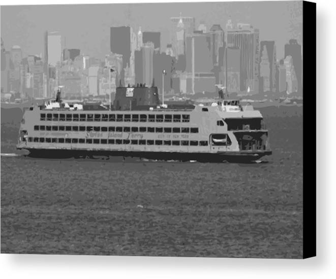 Staten Island Ferry Canvas Print featuring the photograph Staten Island Ferry Bw16 by Scott Kelley
