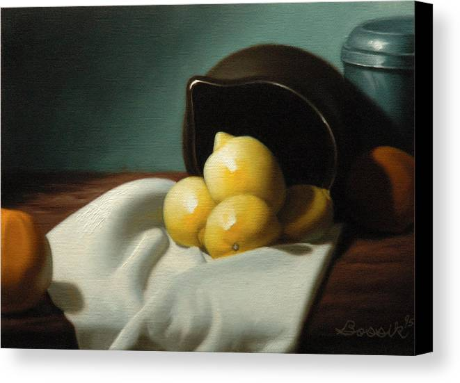 Still Life Painting Canvas Print featuring the painting Still Life Painting Three Beauties by Eric Bossik