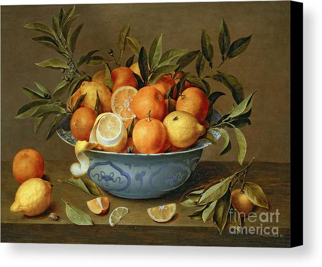 Still Canvas Print featuring the painting Still Life With Oranges And Lemons In A Wan-li Porcelain Dish by Jacob van Hulsdonck