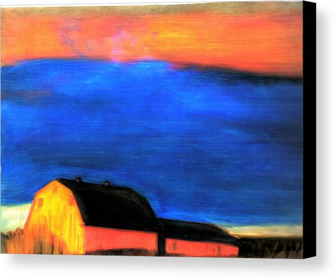 Maine Storm Barns Canvas Print featuring the painting storm over Aroostook Maine by FeatherStone Studio Julie A Miller