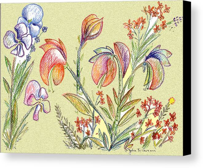 Orchids Canvas Print featuring the digital art Strange Orchid Drawing by Julie Richman