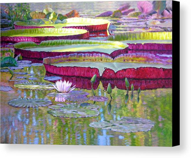 Lily Pond Canvas Print featuring the painting Sunlight On Lily Pads by John Lautermilch