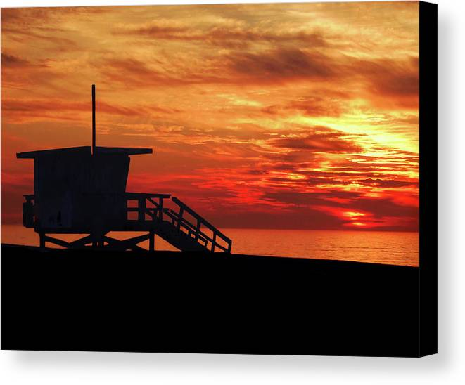 Sunset Canvas Print featuring the photograph Sunset Lifeguard Station Series by Howard Dando