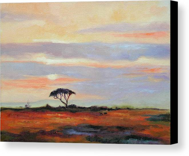 Landscape Canvas Print featuring the painting Sunset On The Serengheti by Ginger Concepcion