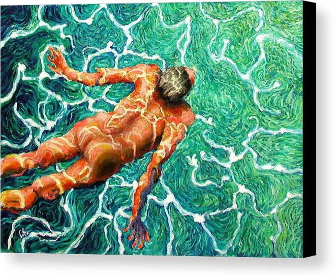 Man Canvas Print featuring the painting Swimmer by Paul Sierra