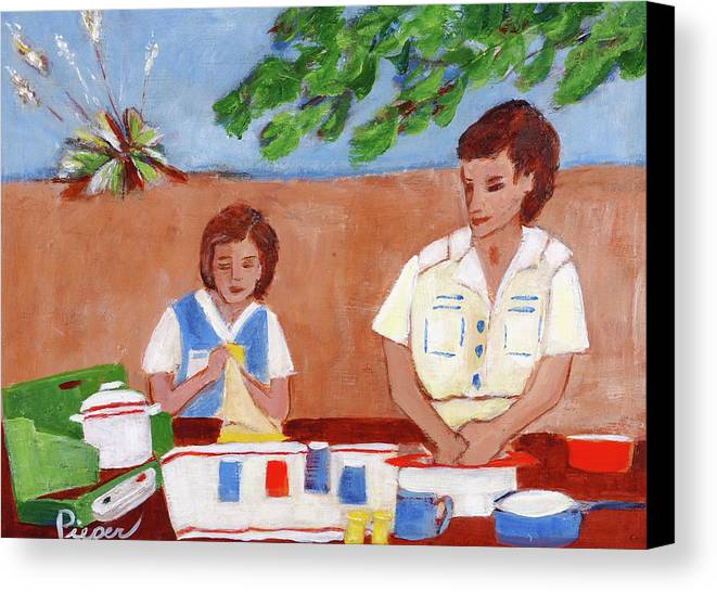 Mother And Daughter Doing Dishes At Roadside Park Canvas Print featuring the painting Texas Roadside Park On The Way Back To New York by Elzbieta Zemaitis