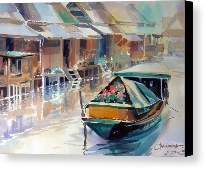 Water Color Canvas Print featuring the painting Thai Style by Chonkhet Phanwichien