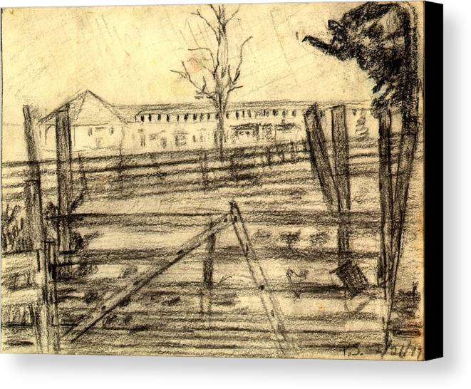 Barn Canvas Print featuring the drawing The Barn by Peter Shor