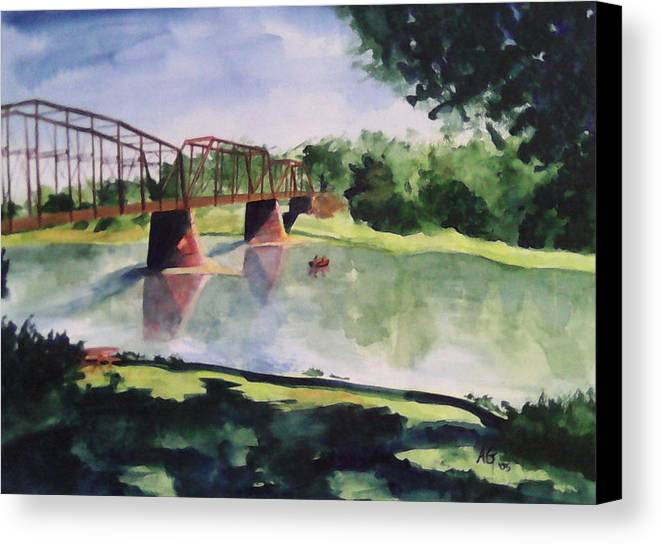 Bridge Canvas Print featuring the painting The Bridge At Ft. Benton by Andrew Gillette