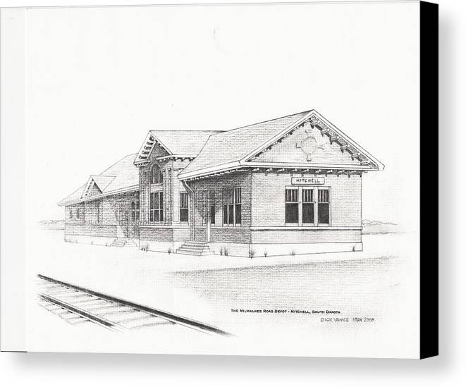 Architecture Canvas Print featuring the painting The Depot Mitchell South Dakota by Buffalo Dick Vance