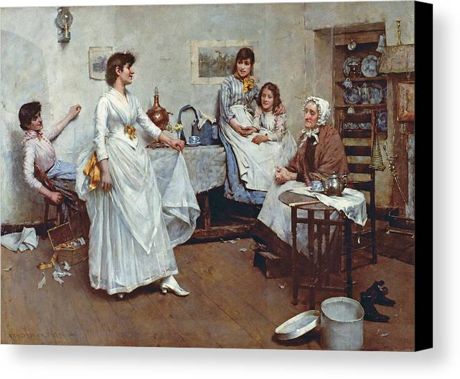 The Dress Rehearsal Canvas Print featuring the painting The Dress Rehearsal by Albert Chevallier Tayler