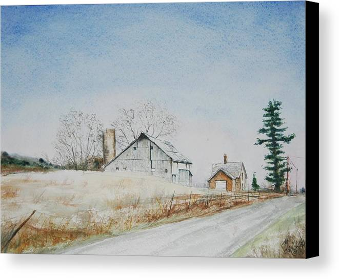Landscape Canvas Print featuring the painting The Drockner Place by Mike Yazel