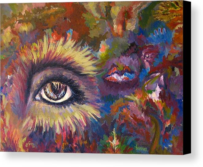 Abstract Canvas Print featuring the painting The Eye by Laura Tveras