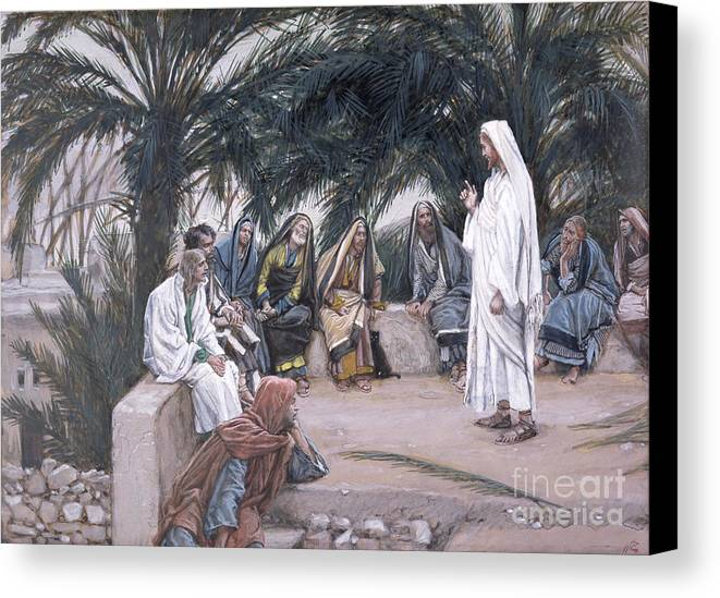 The Canvas Print featuring the painting The First Shall Be The Last by Tissot