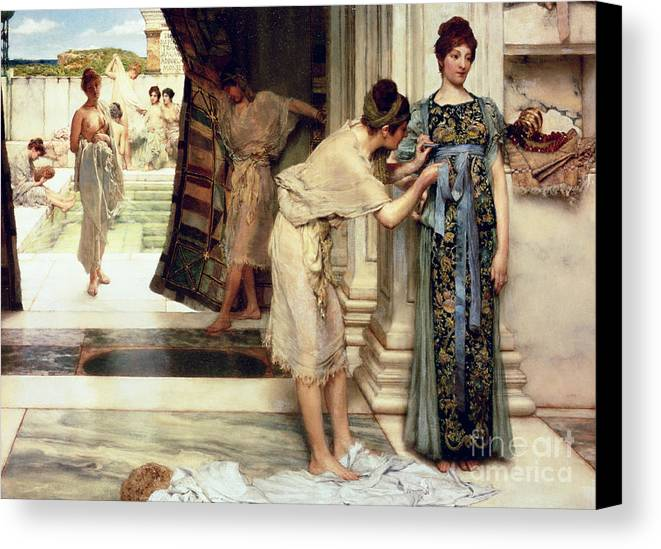 The Canvas Print featuring the painting The Frigidarium by Sir Lawrence Alma-Tadema
