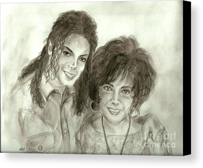 Michael Jackson Canvas Print featuring the painting The King Of Pop And Elizabeth Taylor by Nicole Wang