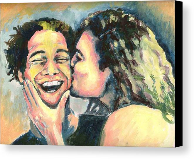 Man Canvas Print featuring the painting The Kiss by Nicole Zeug