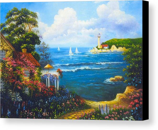 Lighthouse Canvas Print featuring the digital art The Light House By The Sea by Jeanene Stein