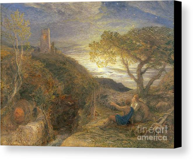 The Canvas Print featuring the painting The Lonely Tower by Samuel Palmer