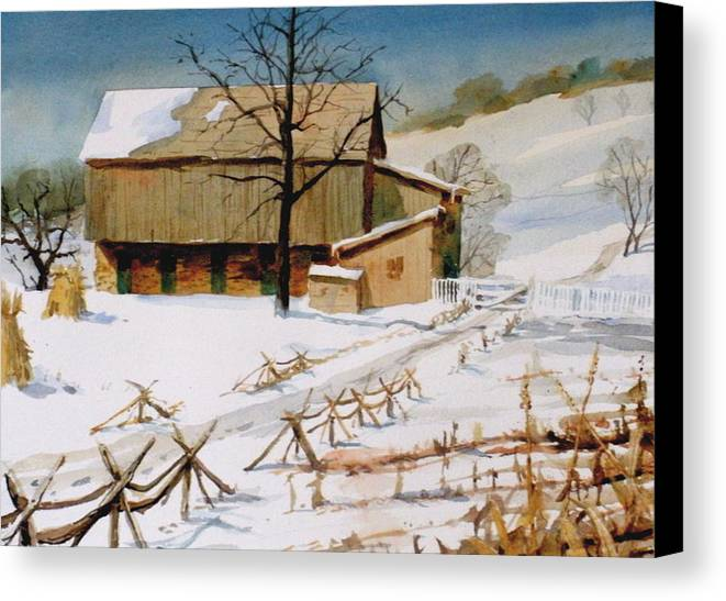 Winter Canvas Print featuring the painting The Stein Barn by Faye Ziegler