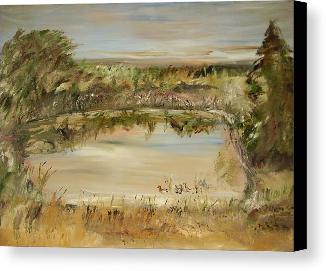 Landscape Canvas Print featuring the painting The Westfern Pond by Edward Wolverton