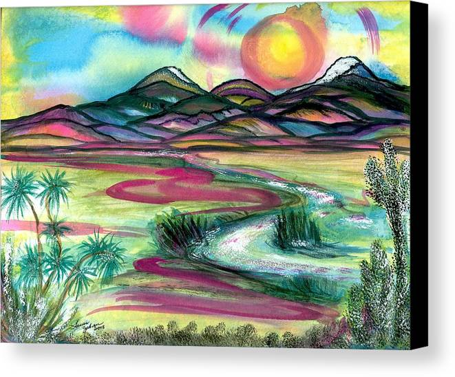 Landscape Canvas Print featuring the mixed media The Wild West by Laura Johnson