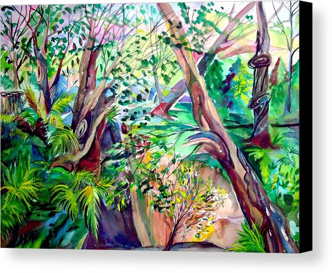 Landscape Canvas Print featuring the painting The Wild Wood Original Art Of Mindy Newman by Mindy Newman