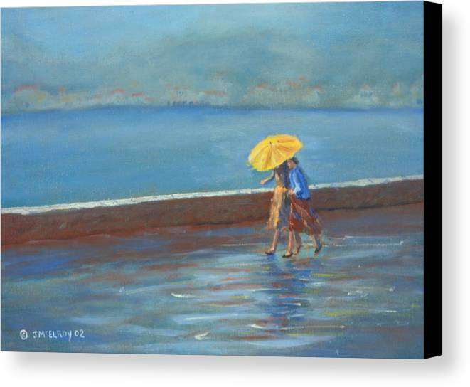 Rain Canvas Print featuring the painting The Yellow Umbrella by Jerry McElroy