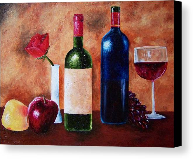 Still Life Canvas Print featuring the painting Thicker Than Wine by Brandon Sharp