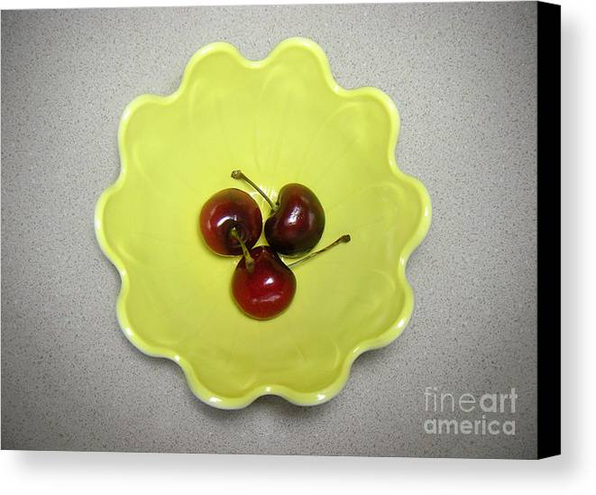 Nature Canvas Print featuring the photograph Three Cherries In A Bowl by Lucyna A M Green