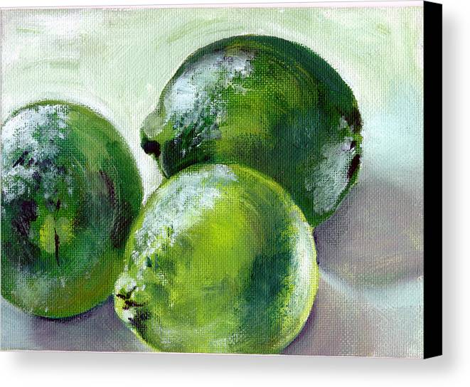 Food Canvas Print featuring the painting Three Limes by Sarah Lynch
